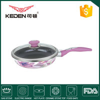 colorful round fry pan with glass lid/ nonstick frypan with enamel coating
