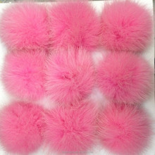 Real pink long hair fox fur ball for keychain