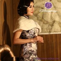 PJ22 Elegant Women wedding Evening Party Ivory Faux Fur Shawl