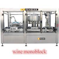 China maker fully automatic wine monoblock filling and sealing machine