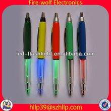 2014 China Supplier New Style Colourful Led Flashing ball pen with knife