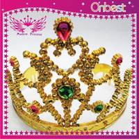 Rhinestone crowns pageant crowns wholesale tiara crown princess party supply mini plastic tiara gold color