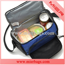 blue and black polyester sports outdoor waterproof lunch bags keep fresh lunch cooler bag for men