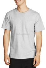 custom plain 100% cotton short sleeve o neck with pockets mens cotton t shirt