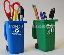 creative mini de plástico papelera de reciclaje sostenedor de la pluma