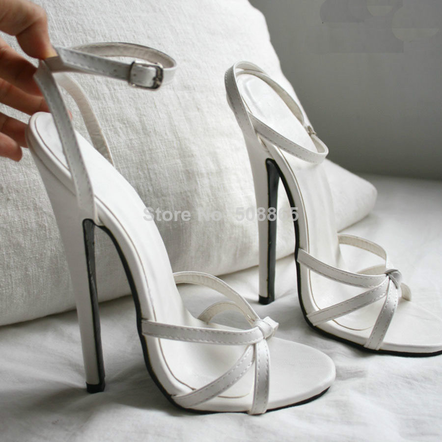 White High Heels With Ankle Strap