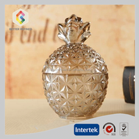 different sizes pineapple shape crystal scent candle in glass jar