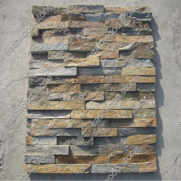 Pared de piedra fachada azulejos pizarra identificaci n for Precio mosaicos para exterior