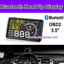 Blue tooth hud head up display with 5.5 inch LCD and alarm for car/truck/van