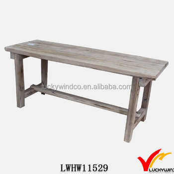 Vintage Distressed Rustic Natural Wood Bench