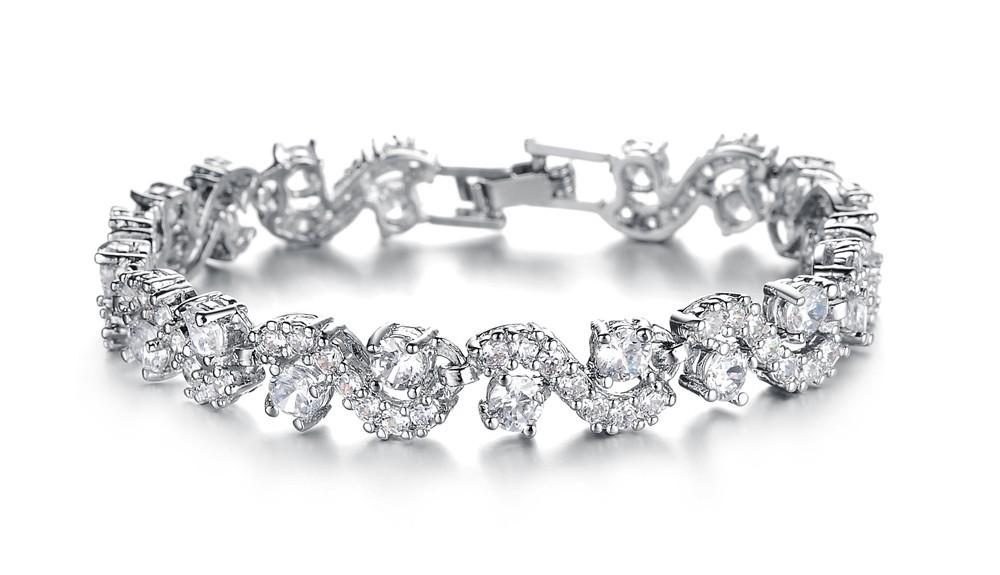 OPK JEWELRY Fashion EU Style Silver Color Blue Crystal Stone Bracelets & Bangles Luxury Romantic Wedding Jewelry Gift, DS931