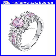 Fashionable Pink Emerald Cluster Crystal Ring White Gold Plated Brass Ring Six Colors