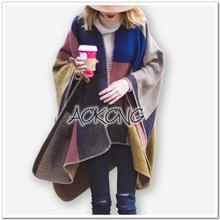 2015 brand colour block stitched blanket cape coat winter scarf plaid women poncho wraps check top cashmere acrylic shawls