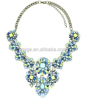 Shourouk jewelry china wholesale European and American big gemstone crystal jewelry necklace female short necklace N0134