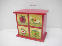 Red Wooden 4 Drawers Cabinet Storage Chest