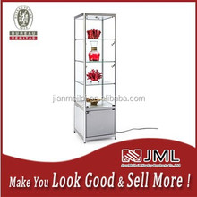 Manufacturing direct Free Standing Lockable Display Cabinets/Tower With 3 top lights