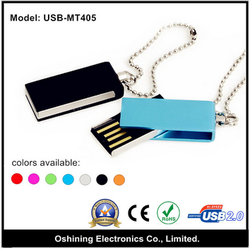 2015 hot selling promotional colorful rotated metal usb flash drive (USB-MT405)