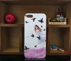 China supplier small quantity hard PC drawing beautiful butterfly girls case for IPhone 5 5S