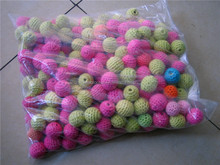 Vintage Fashion hand Crochet Wooden Beads Balls, Wholesale DIY Teething Jewellery Supplies