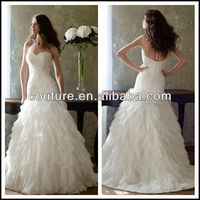 new arrival lace appliqued sweetheart neck floor lengthTM335 wedding dresses by crystal trade co. ltd