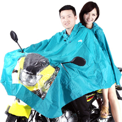 Korean version of the solid increase thickening motorcycle / electric car raincoat double poncho - violet and blue lake