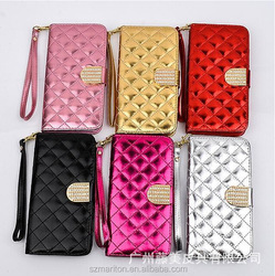 colorful flip leather book case for iphone6 5.5inch, flip leather book case for iphone6 5.5 inch with diamond