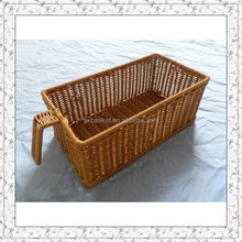 plastic rattan woven pull out kitchen cabinet drawer basket with handle