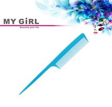 mi niña artículo promocional 2014 puro azul cola de rata antiestático de fibra de carbono peine para el corte de pelo