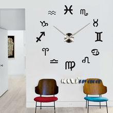 2015 Newest Creative 3D Large Twelve Constellations DIY Wall Sticker Clock From Original Factory