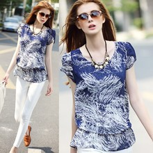 2015 new fashion printed women frock top