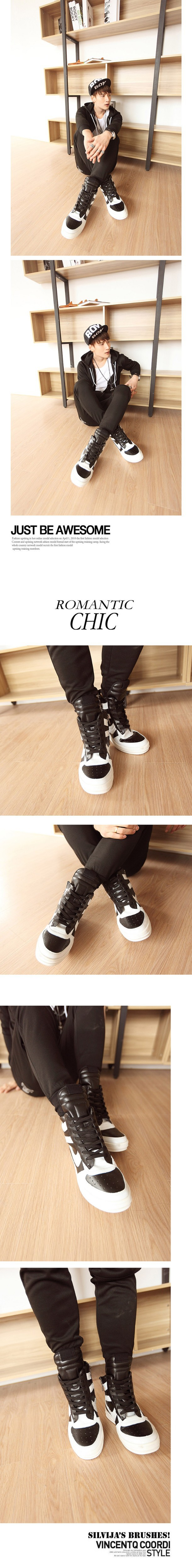 Free Shipping 2015 new fashion rick owen leather high-top male casual shoes side zipper rivet men\`s ankle boots flats Punk shoes-1 (20)
