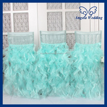 CH007K Gorgeous 2015 wholesale fancy popular frilly curly willow ruffled puffy teal tiffany blue chair covers for weddings