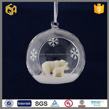 2015 Hot products clear murano glass ball with bears inside decoration