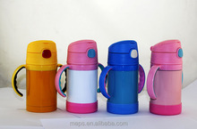 fashion double wall stainless steel vacuum thermos baby/kids bottle with straw thermos flask with handle