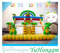 2014 Newst Dinosaur Theme Slide Inflatable Slides With Double Lane Slip Slide For Kids And Adults