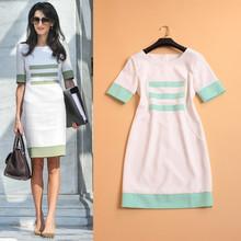 2015 Summer New Fashion Runway Women's Short Sleeve Stripes Contrast Color Light Green & White Office Women Work Dress
