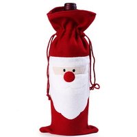 2016 New Santa Clause Red Wine Bottle Cover Bags Christmas Decorations supplies Dinner Table Party Decor For Christmas