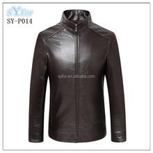 Basic Mens Short slim genuine leather jacket and business men sheepskin jacket coat and mandarin collar lambskin coat for boys