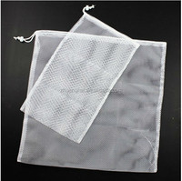 high quality promotional cheap mesh drawstring washable laundry bags