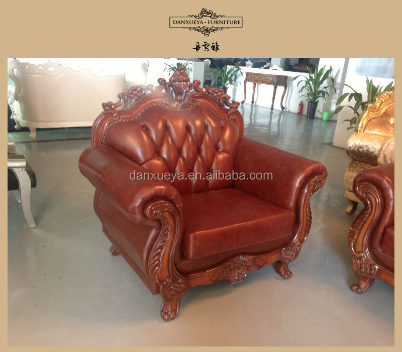 Antique Executive Hand Carved Wood Leather Sofa Set In Living Room ...
