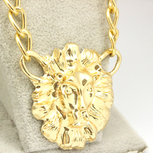Men Jewelry 2015 Summer Shiny Gold Plated 18K New Statement Lion's Head Necklace