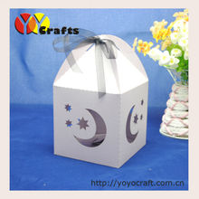 low price good quality moon and star wedding favors candy boxes with free logo and ribbon