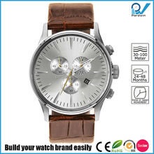 Six hand quartz movement classic business casual water proof stainless steel case whith genuine leather strap watch