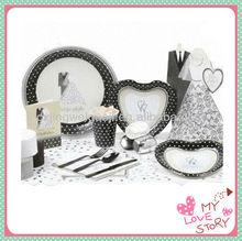 Disposable paper wedding tableware set(paper plate,paper cup,napkin) ,wedding server sets,disposable paper partyware sets