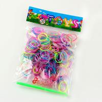 300pcs per bag + 12pcs S + 1 clips glow in dark rainbow bracelets loom
