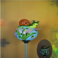 snail ceramic solar powered led stick light garden decoration