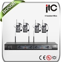 ITC T-524US Economical FM 4 Channel Adjustable Wireless Headset Microphone System