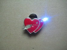 Hight quality safety pins for badges with An arrow through the heart shape