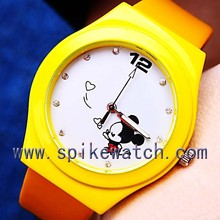 Yellow color customized Mickey Printing cute kids carton leather watch
