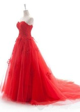 WD092 Real Picture Ball Gown Sweetheart Sequins Beaded Red Lace Wedding Dress 2015